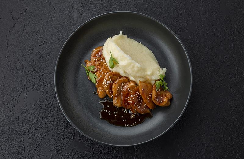 Заказ Курица в соусе терияки с картофельным пюре