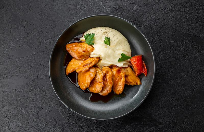 Курица в соусе терияки с картофельным пюре