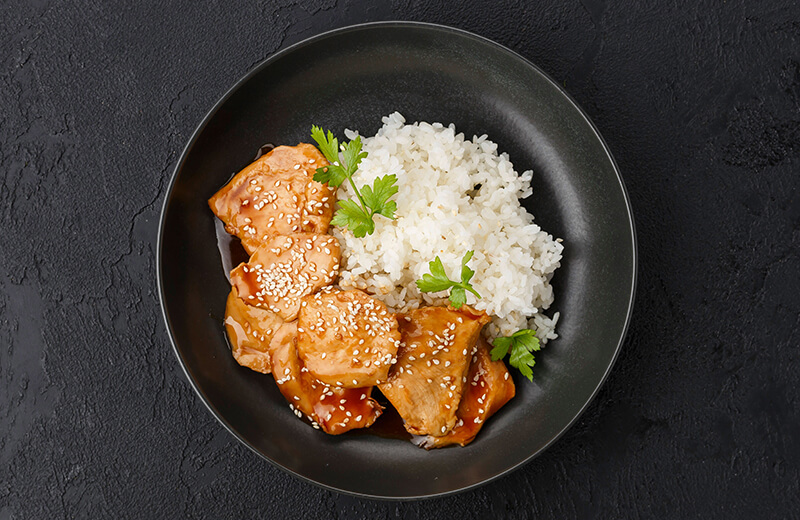 Заказ Курица в соусе терияки с рисом