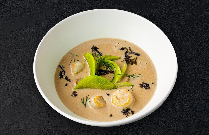 Заказать суп с угрём и гребешком